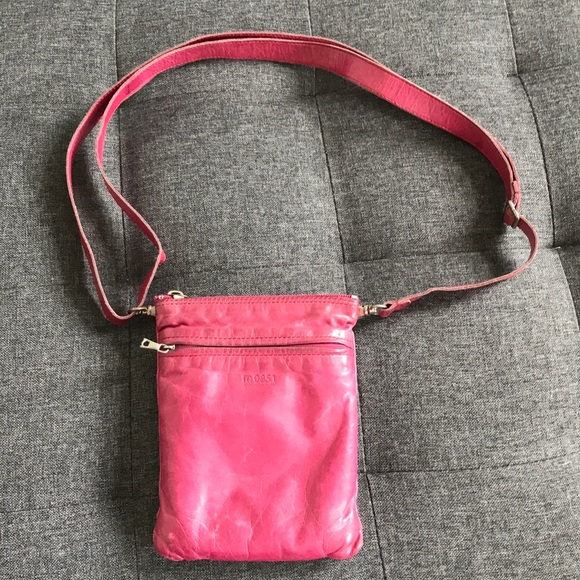 m0851 Handbags - M0851 Hot pink genuine leather fanny pack